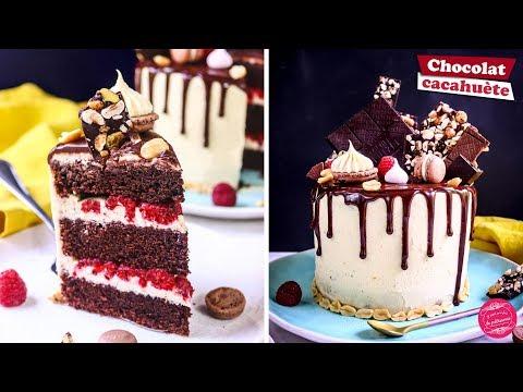 🎂-drip-cake-chocolat,-cacahuete-et-framboise-🎂