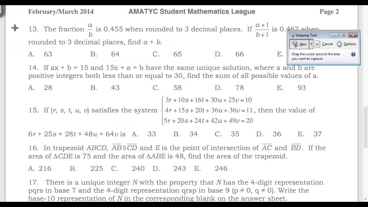AMATYC Student Math League (SML) Spring 2014 Solutions, Questions 11 ...