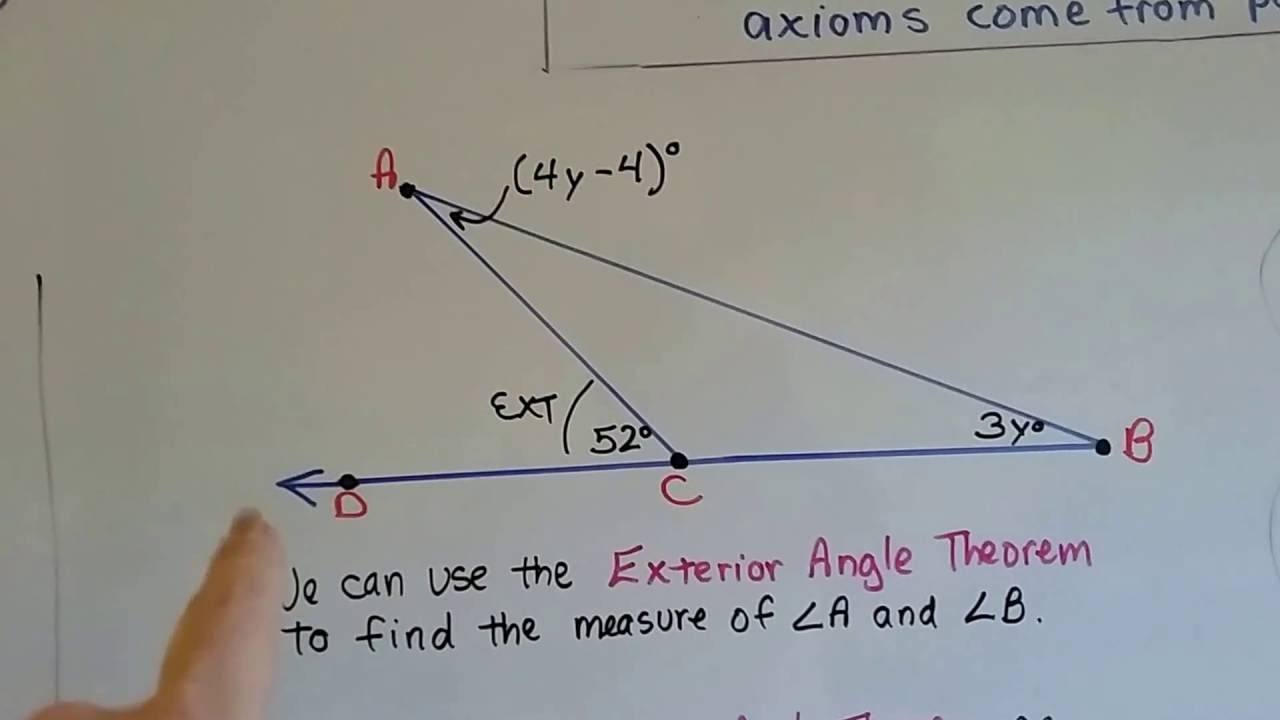 Grade 8 math using the exterior angle theorem - The exterior angle theorem answers ...