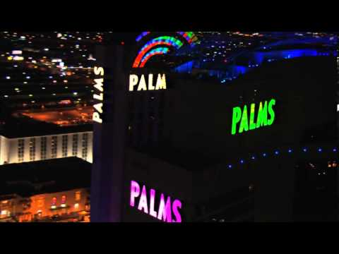 Palms Hotel And Casino Resort Las Vegas With Playboy Club Sign Aerial Pan View Video Taken At Night