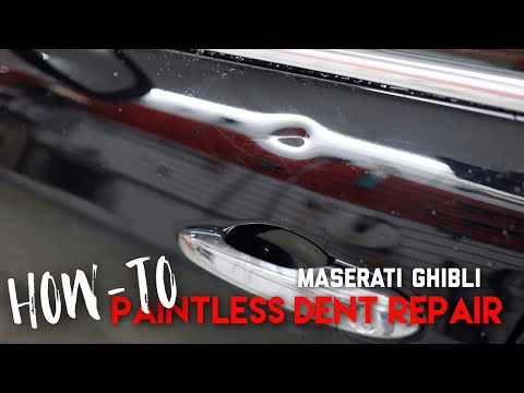how-to-remove-a-dent-on-a-maserati-ghibli-front-door-|-paintless-dent-repair