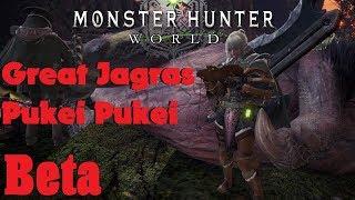 Monster Hunter World  Beta Great Jagras + Pukei Pukei Hunt Charge blade