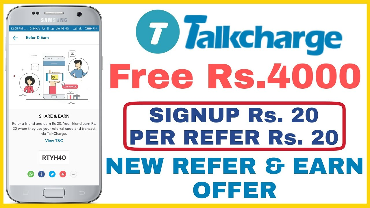 Talkcharge App New Refer and Earn Offer - Get Upto Rs 4000 | Signup Rs 20  Per Refer Rs 20