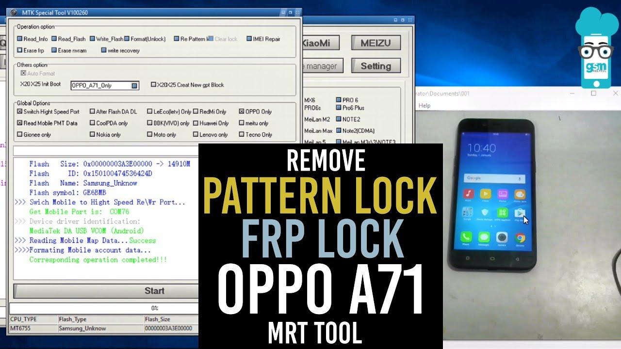 OPPO F7 Unlock Pattern,Unlock FRP Via MRT Dongle by D'PONSEL