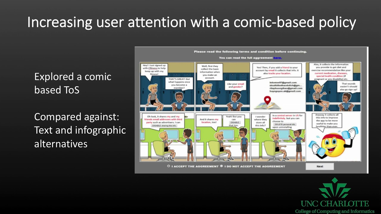 Increasing User Attention with a Comic-based Policy