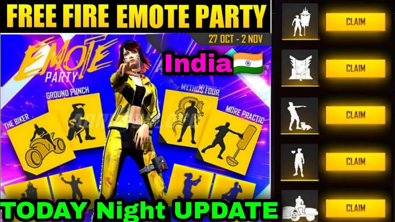 Freefire Emote party events india freefire today night update in Tamil