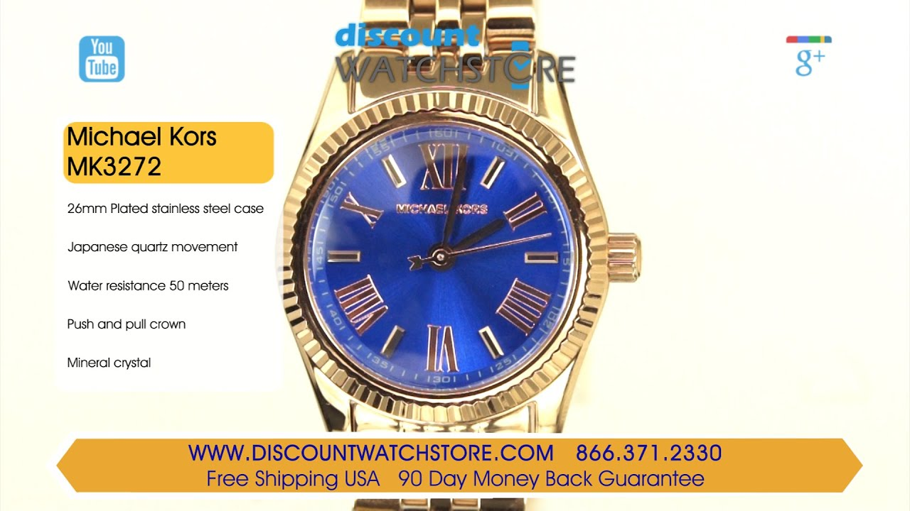 8b6db2b5cd5d Michael Kors MK3272 Women s Lexington Petite Blue Dial Rose Gold Steel  Bracelet Watch Review Video