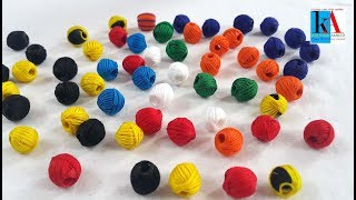 how to make jumbo cotton thread beads for necklace/ using 2 colours jumbo beads at home