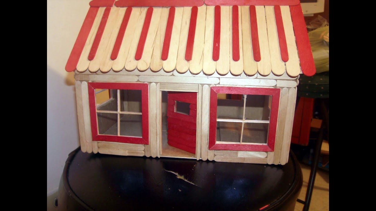 cardboard/popsicle stick house with lights. - youtube