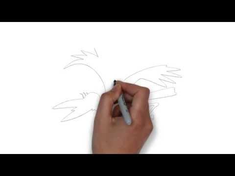 как нарисовать ворону, how to draw a crow, cómo dibujar un cuervo