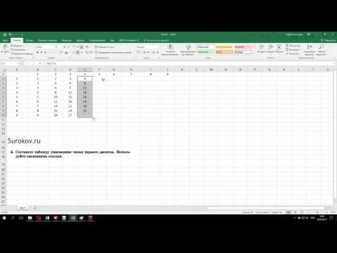 Составьте таблицу умножения чисел первого десятка, используя смешанные ссылки