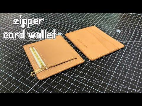 [가죽공예] 지퍼 카드지갑 만들기 / 무료패턴 / zipper card wallet