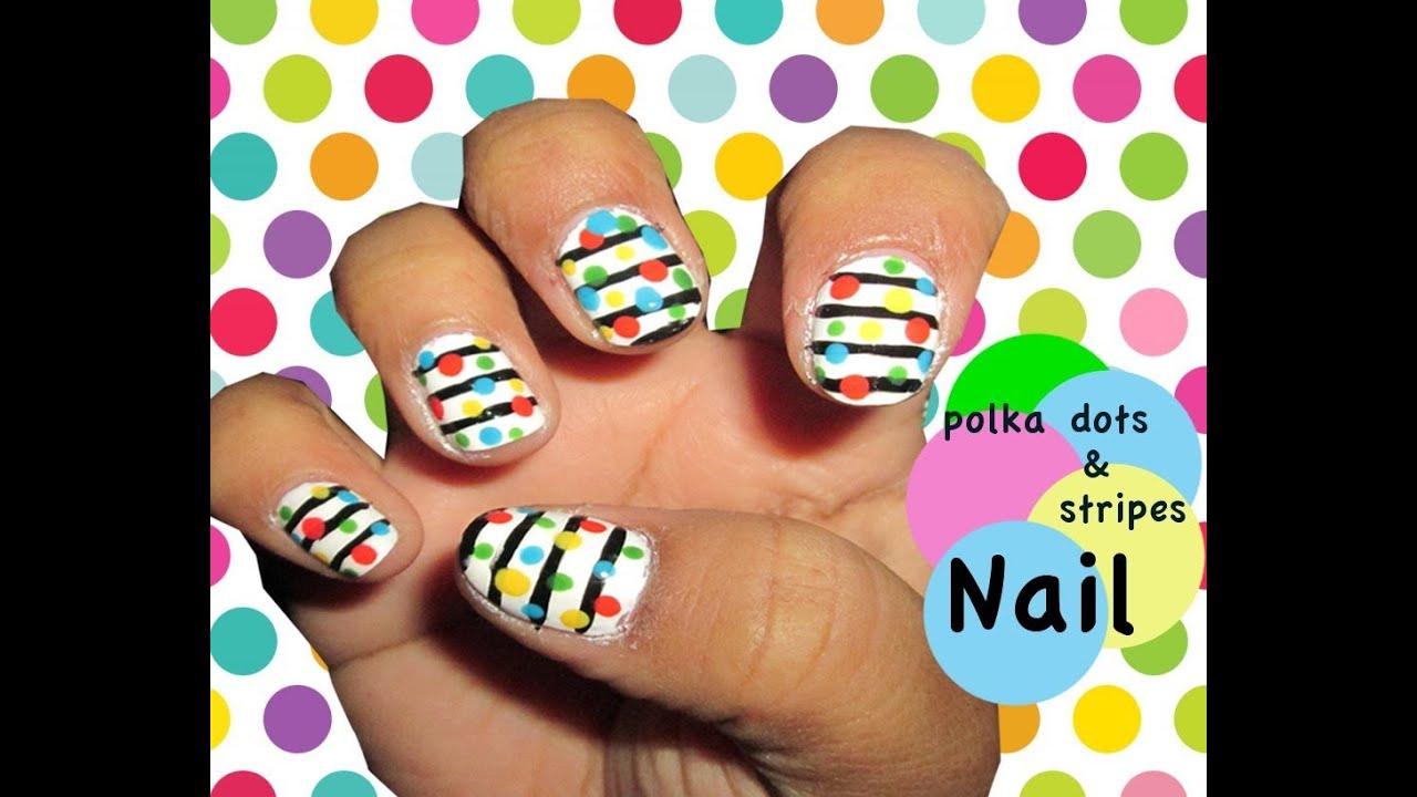 Polka dots stripes nail art youtube polka dots stripes nail art prinsesfo Choice Image