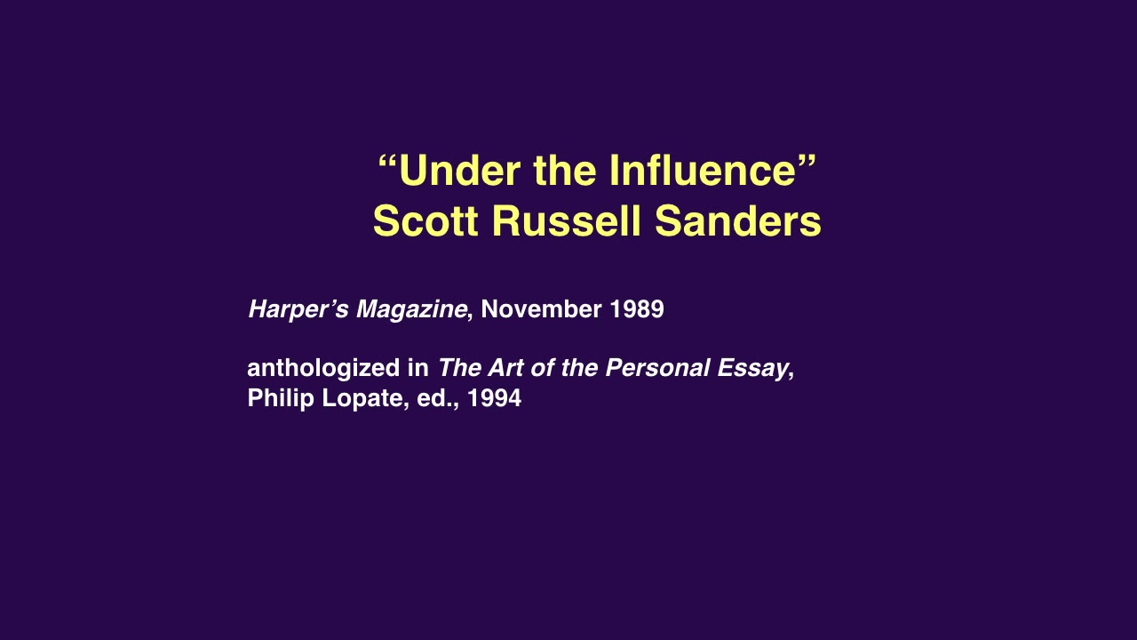under the influence sanders