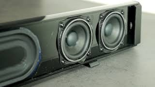 How to remove SR100 Plus soundbar grill + bass excursion test