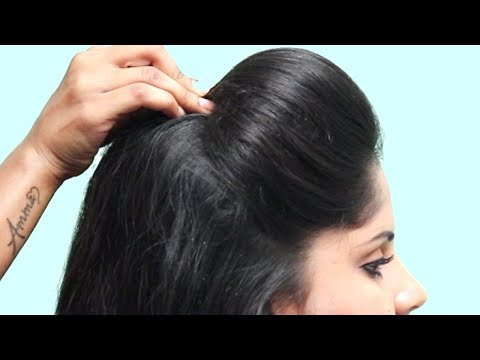 juda hairstyle with puff using clutcher   new hairstyle   wedding hairstyle   easy hairstyles thumbnail