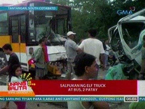 UB: Salpukan ng Elf truck at bus sa Tantangan, South Cotabato, 2 patay