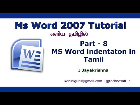 MS Word Paragraph Alignment And Indentation In Tamil