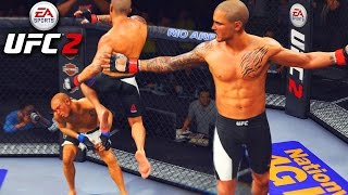 Dustin Poirier Has CRAZY Stand Up! Flying Knee Knockout! EA Sports UFC 2 Online Gameplay