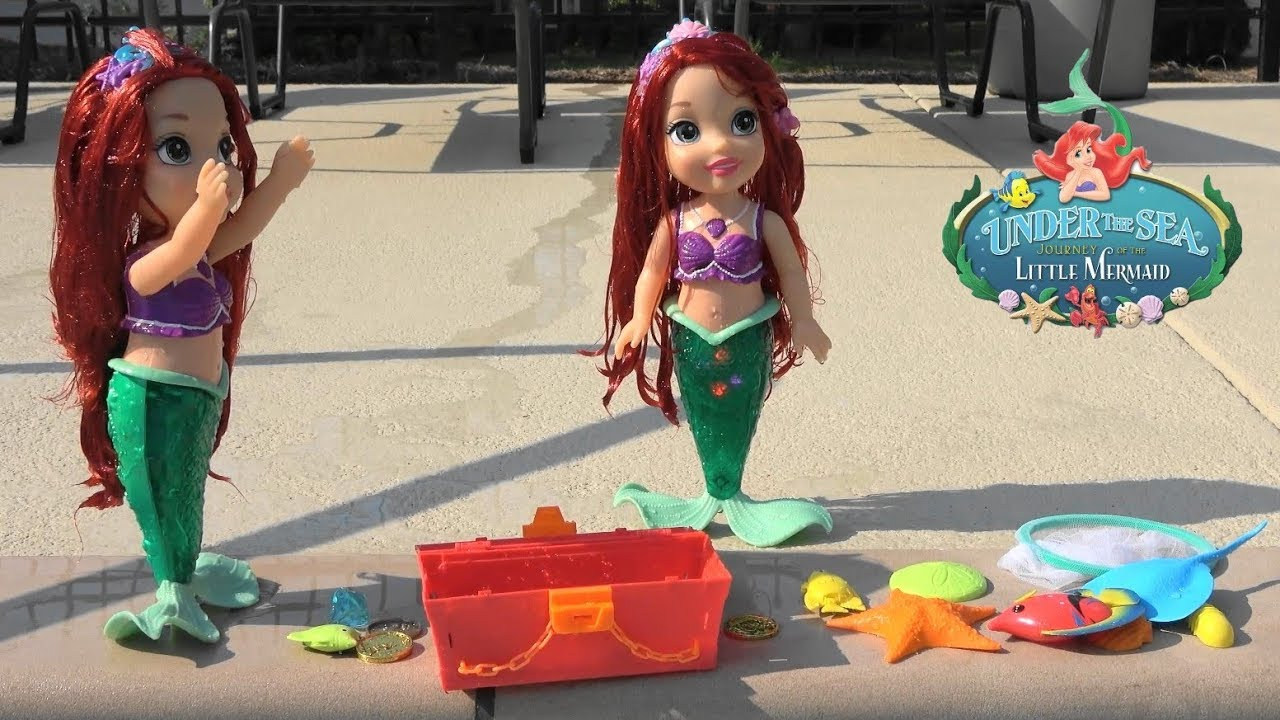 Princess Stories Little Mermaid Ariel And Ariela Find Pirate Treasure Chest While Playing In Pool