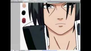 Speed Drawing - Coloring Itachi Uchiha - Adobe Photoshop CS5