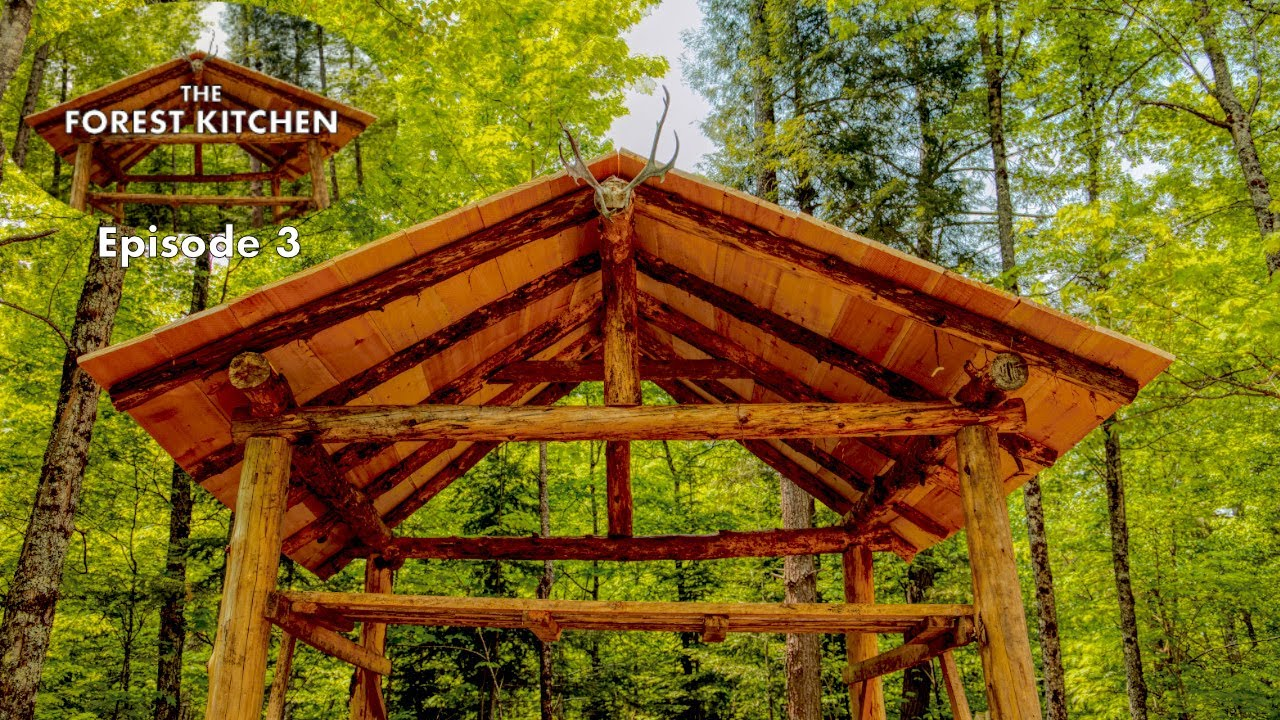 the-forest-kitchen-at-the-off-grid-log-cabin-build-ep-3-raising-the-roof