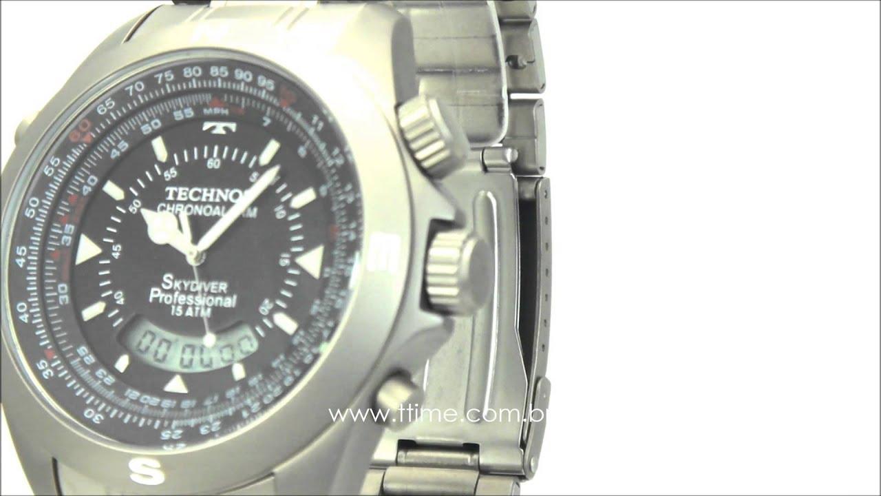 c287f43c6d6 Relógio Technos Performance Skydiver Pilot Titanium T20563 1P - YouTube