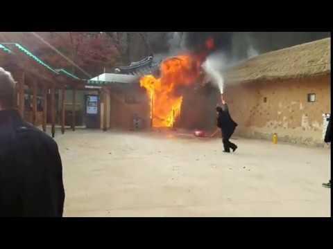구미 상모동 박정희 전 대통령 생가 화재 현장 및 방화범 검거장면