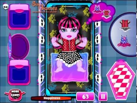 Monster High Игры—Дракулаура Бэби Принцесса—Мультик Онлайн Видео Для Девочек 2015