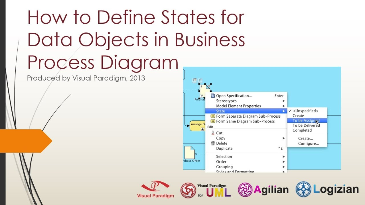 how to define states for data objects in business process diagram - youtube