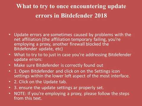Bitdefender Free Antivirus Solution To Updating Error