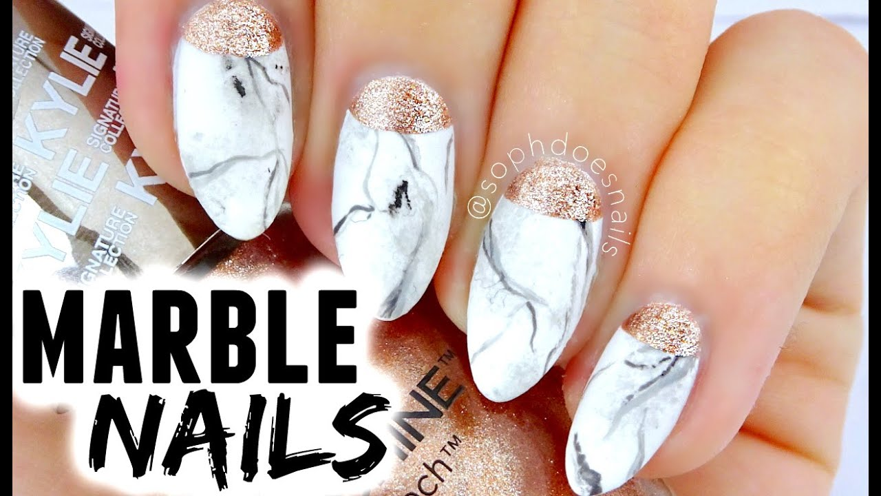Marble Amp Rose Gold Nail Tutorial Sophdoesnails Youtube