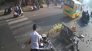 School bus breaks fail accident in vijayawada