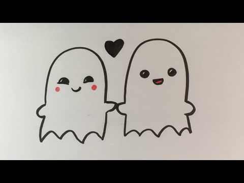 How to Draw Ghosts in Love - Cute - Halloween Drawings