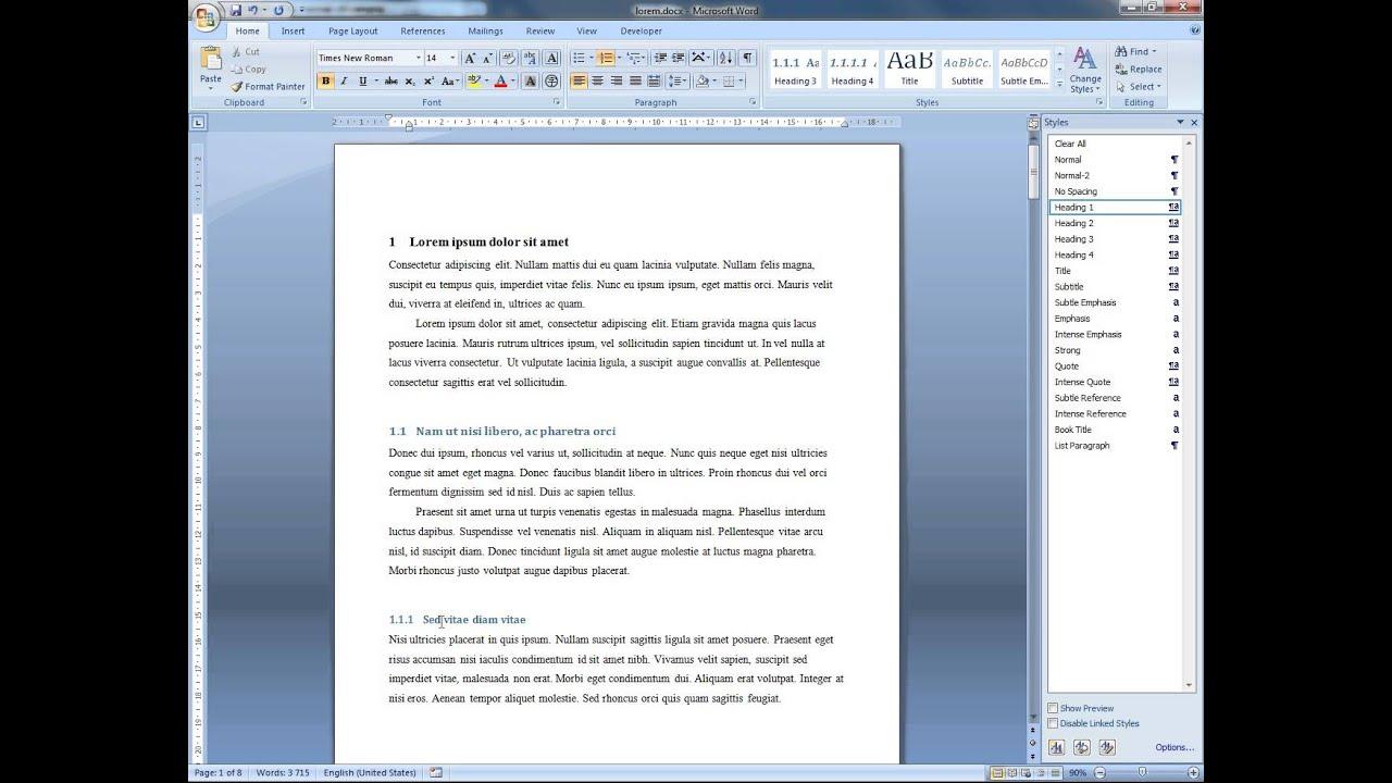 innehållsförteckning word 2007