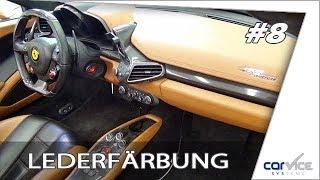 Professionelle Lederreparatur und Färbung bei einem Ferrari 458 Spider