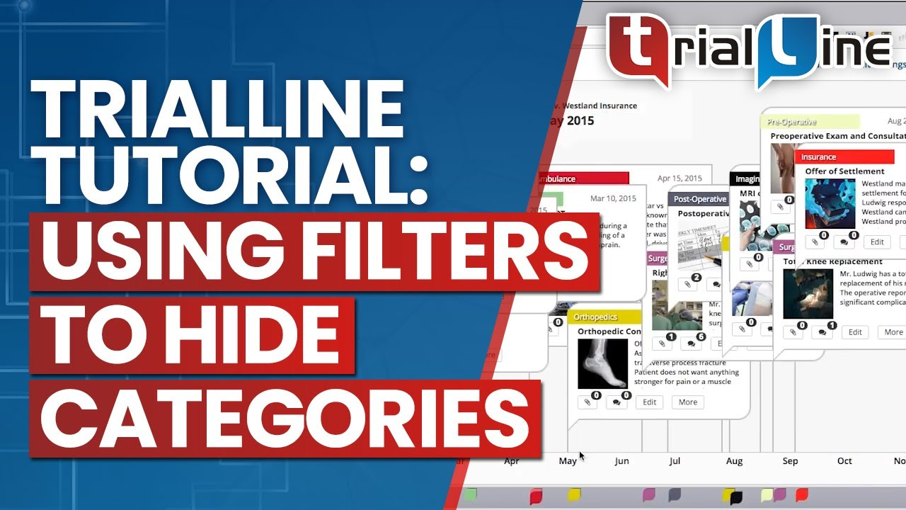 trialline tutorial using filters to hide categories legal