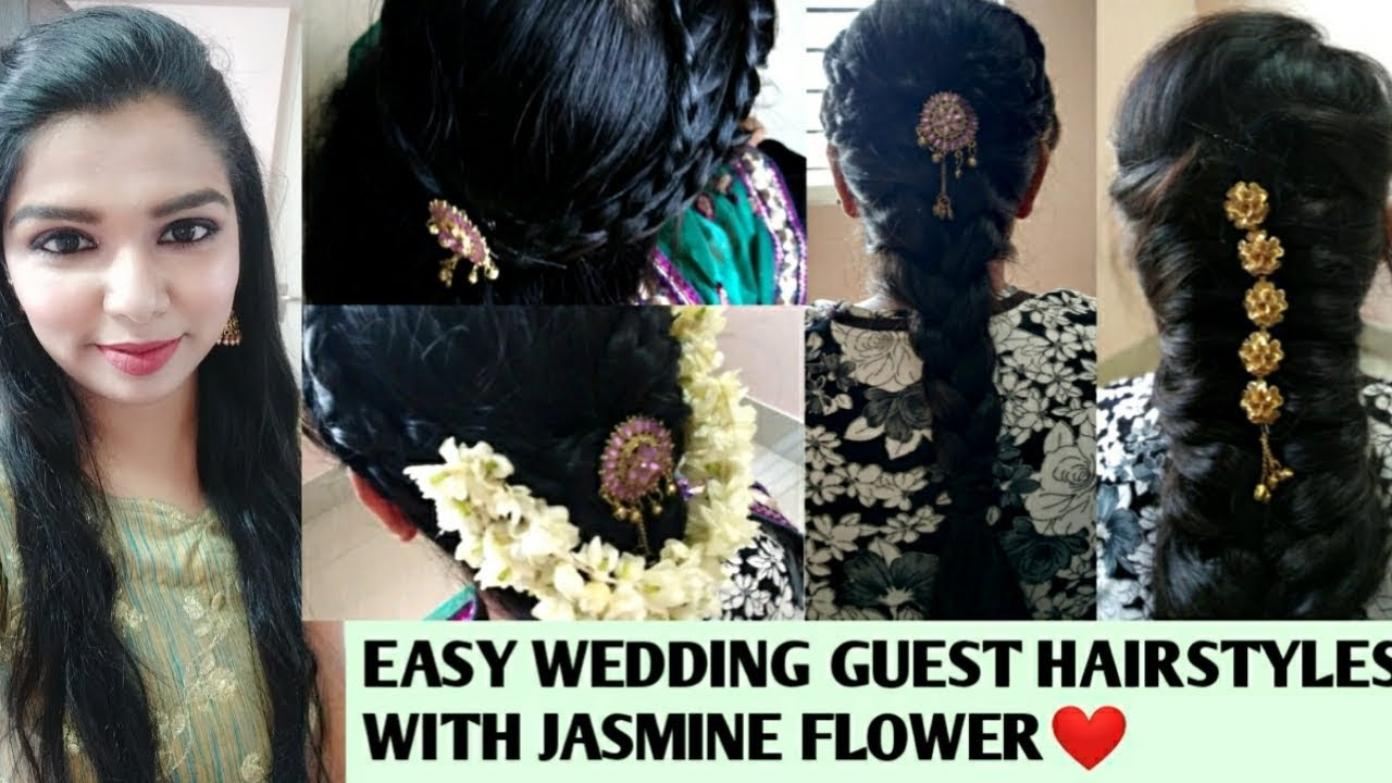 easy indian wedding guest hairstyles with jasmine flower in tamil|  hairstyles with saree