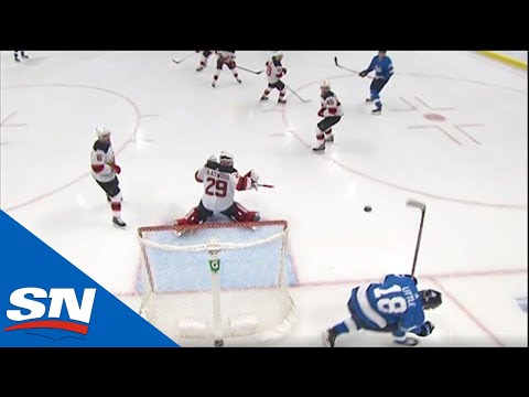 Jets' Bryan Little Takes Nikolaj Ehlers' Slap Shot Straight To The Head