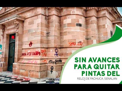 Sin avances para quitar pintas del Reloj de Pachuca, señalan