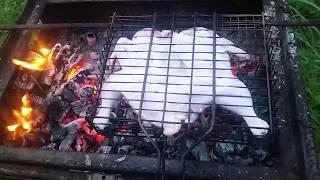 Готовим курицу на костре в мангале и картофель в углях