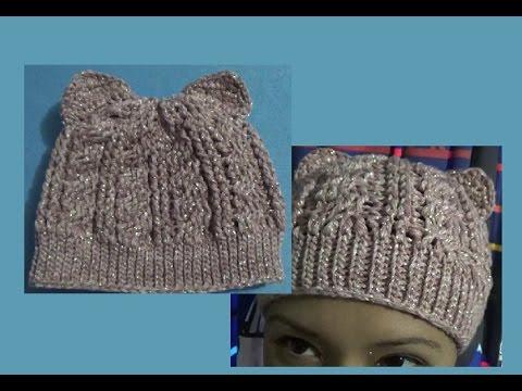 Gorro de trenzas y Orejas de Gato a Crochet - YouTube b86b6a346b8