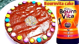 Bournvita से बनाए केक कढाई में। How to make Bournvita cake and Cream| Eggless cake without oven