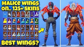 "NEW ""MALICE WINGS"" BACK BLING Showcased With 120+ SKINS! Fortnite Battle Royale MALICE WINGS COMBOS"
