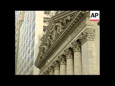 USA: NEW YORK: DOW JONES AVERAGE CLOSES DOWN AT 8,080.52