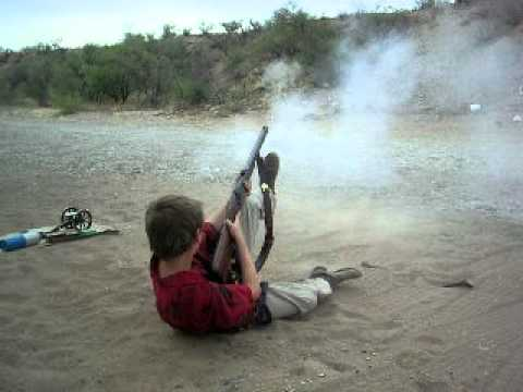 My 10 year old son shooting  54 cal  muzzleloader part 2