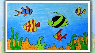 How to draw Underwater | Underwater Drawing | Fish Aquarium Drawing