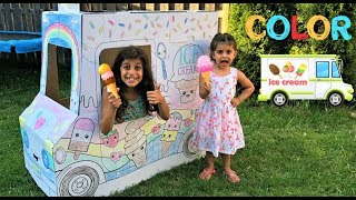 Kids Pretend Play Selling Ice Cream Toys with Cute color ice cream truck