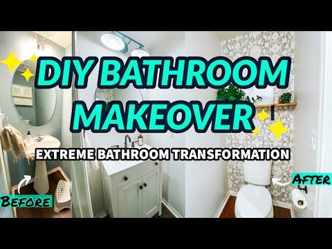 diy-small-bathroom-makeover-|-extreme-bathroom-transformation-|-bathroom-remodel-|-powder-room-ideas