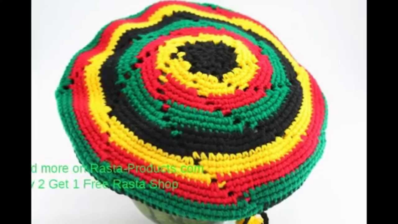 RASTA KNIT HAT WITH VIZOR RASTA COLORS CIRCLES - YouTube